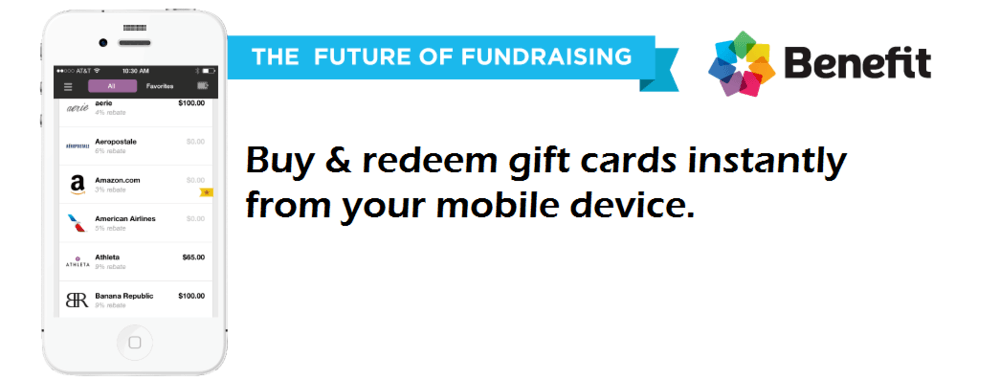 Image of a phone screen showing  THE FUTURE OF FUNDRAISING  - Buy   redeem gift cards instantly from your mobile device.